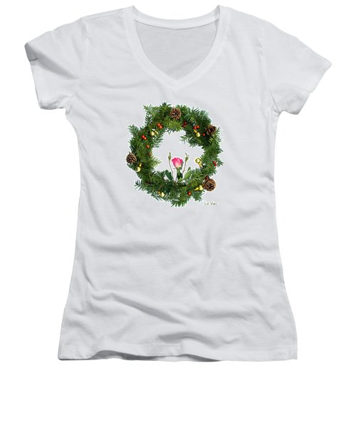 Women's V-Neck T-Shirt (Junior Cut) featuring the digital art Wreath With Rose by Lise Winne
