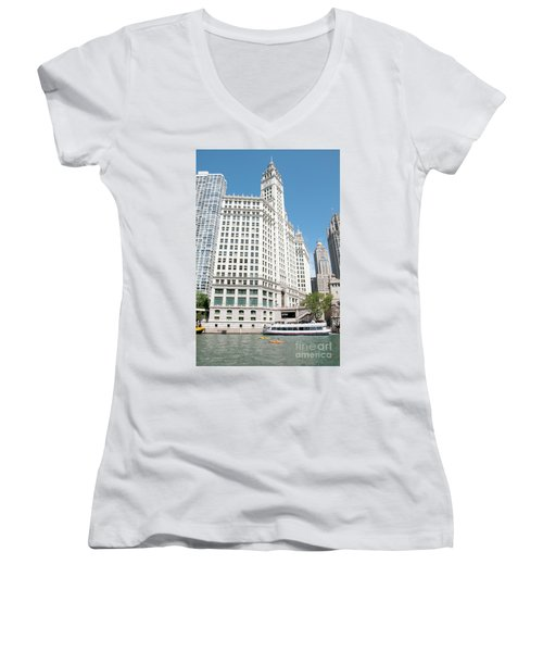 Wrigley Building Overlooking The Chicago River Women's V-Neck