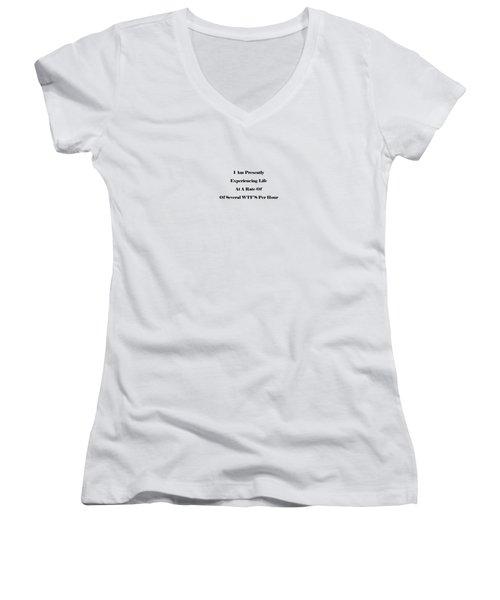 WTF Women's V-Neck T-Shirt (Junior Cut) by Pat Cook