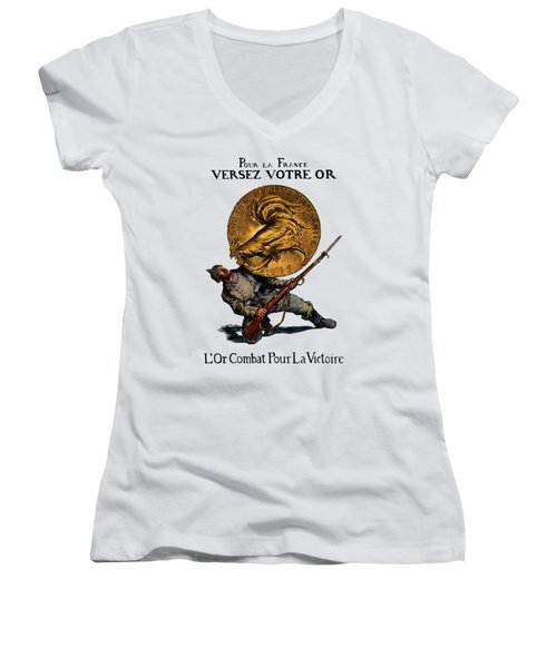 Wwi Gold For French Victory Women's V-Neck T-Shirt (Junior Cut) by Historic Image