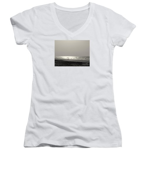 Women's V-Neck T-Shirt (Junior Cut) featuring the photograph Y O L O by Mim White