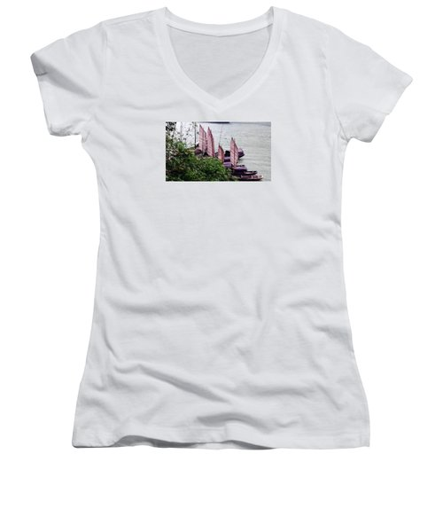 Women's V-Neck T-Shirt (Junior Cut) featuring the photograph Yangtze Boats by Vicky Tarcau