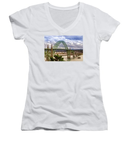 Women's V-Neck T-Shirt featuring the photograph Yaquina Bay Bridge by James Eddy