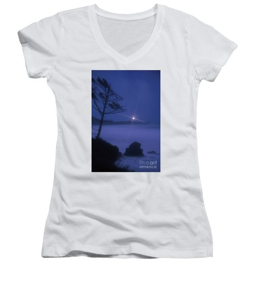 Yaquina Head At Night Women's V-Neck (Athletic Fit)