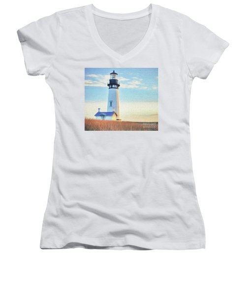 Yaquina Head Lighthouse Women's V-Neck (Athletic Fit)