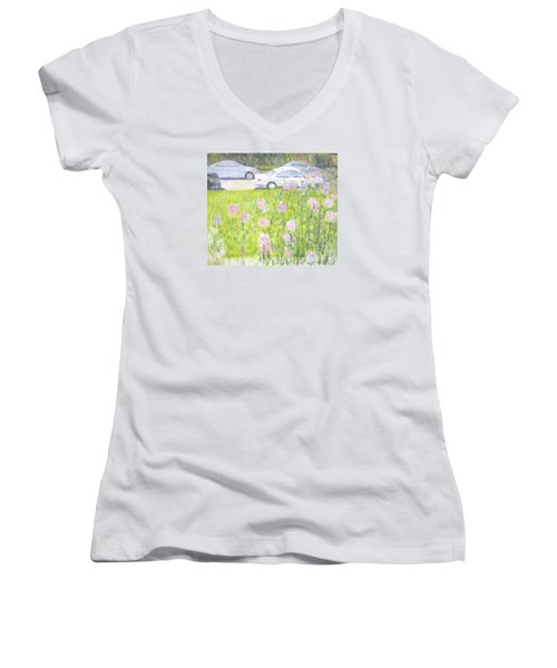 Yard Flowers  In Chicago Women's V-Neck (Athletic Fit)