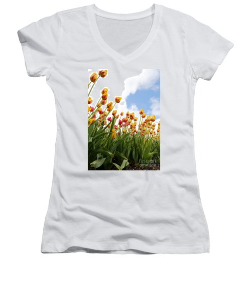 Women's V-Neck T-Shirt (Junior Cut) featuring the photograph Yellow Fever by Robert Pearson