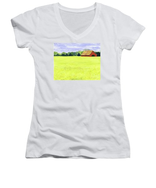 Yellow Field Women's V-Neck (Athletic Fit)