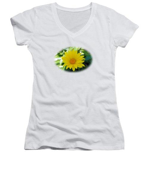 Yellow Flower T-shirt Women's V-Neck T-Shirt (Junior Cut) by Isam Awad