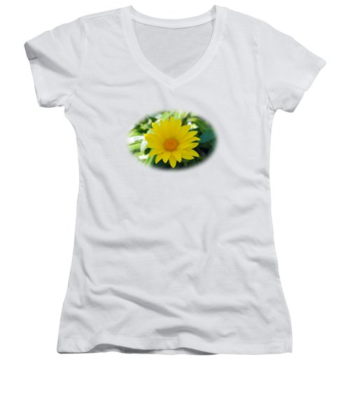 Yellow Flower T-shirt Women's V-Neck (Athletic Fit)