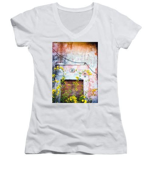 Yellow Flowers And Decayed Wall Women's V-Neck T-Shirt
