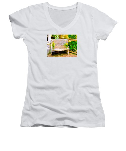 Yellow Flowers On Porch Bench Women's V-Neck T-Shirt