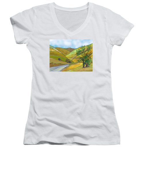 Yellow Foothills Women's V-Neck T-Shirt (Junior Cut)