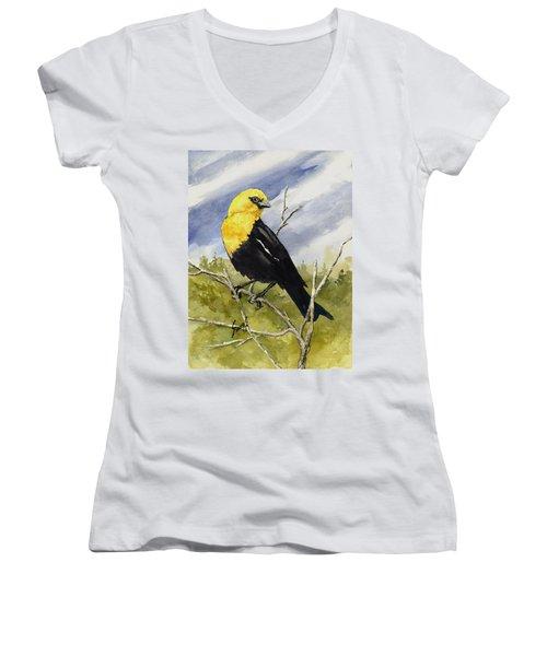 Yellow-headed Blackbird Women's V-Neck T-Shirt (Junior Cut) by Sam Sidders