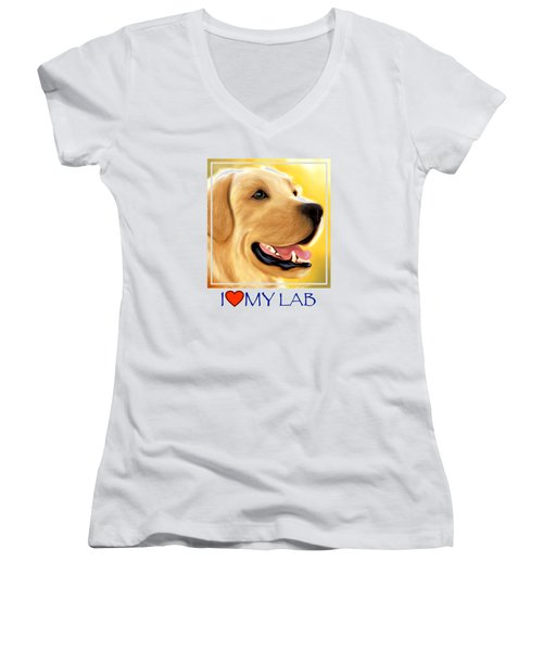 Yellow Lab Portrait Women's V-Neck (Athletic Fit)