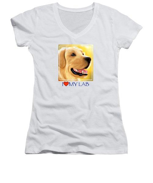 Yellow Lab Portrait Women's V-Neck T-Shirt