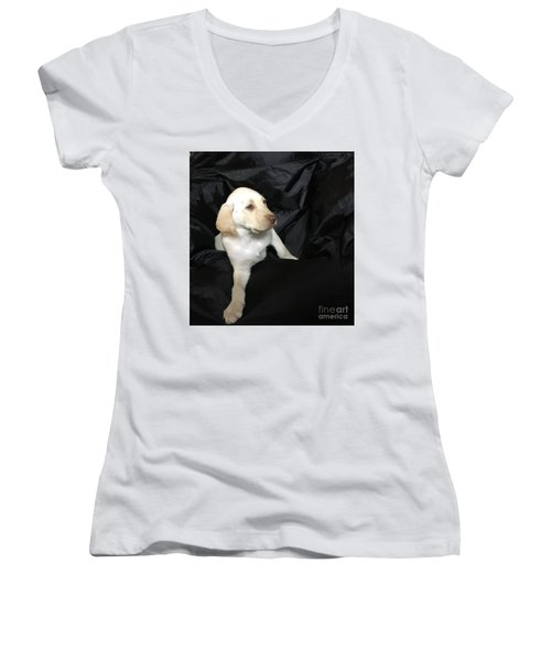 Yellow Lab Puppy Sadie Women's V-Neck (Athletic Fit)