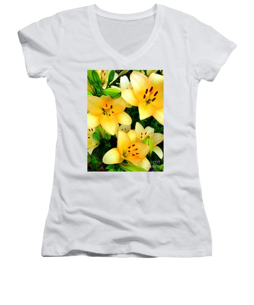 Women's V-Neck T-Shirt (Junior Cut) featuring the photograph Yellow Lilies 3 by Randall Weidner