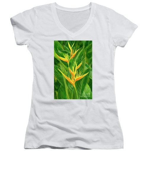 Yellow Orange Heliconia With Leaves Women's V-Neck (Athletic Fit)