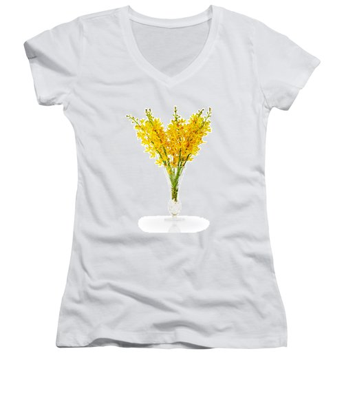 Yellow Orchid In Crystal Vase Women's V-Neck (Athletic Fit)