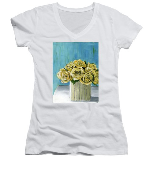 Yellow Roses In Vase Women's V-Neck (Athletic Fit)