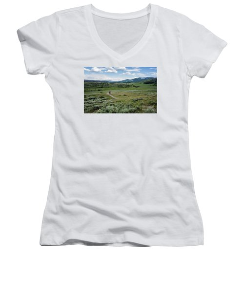 Women's V-Neck featuring the photograph Yellow Stone Mountains by Mae Wertz