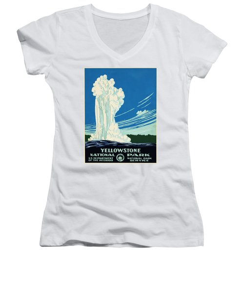 Yellow Stone Park - Vintage Travel Poster Women's V-Neck T-Shirt