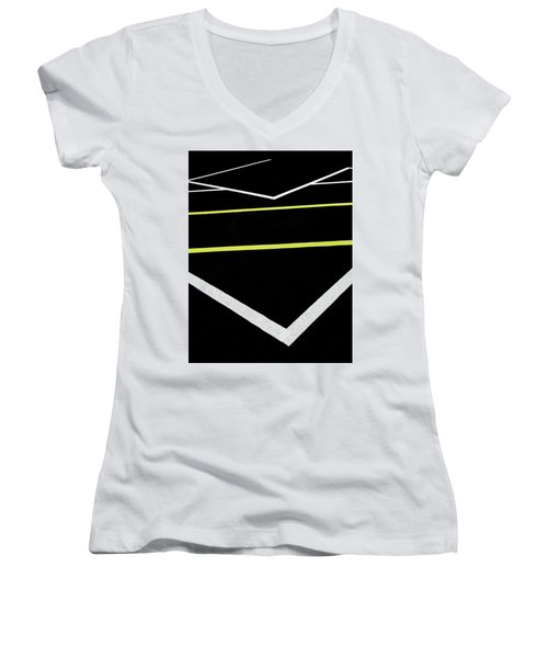 Yellow Traffic Lines In The Middle Women's V-Neck T-Shirt