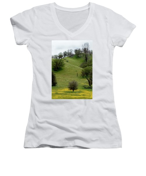 Women's V-Neck T-Shirt (Junior Cut) featuring the photograph Yellow Wildflowers And Oak Trees by Roger Mullenhour