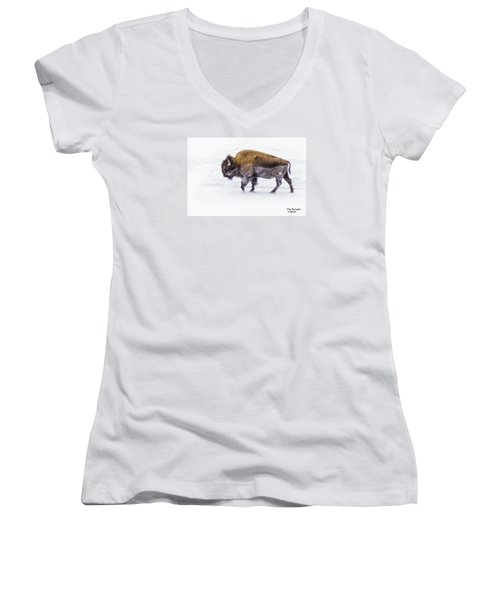 Yellowstone Bison Women's V-Neck T-Shirt