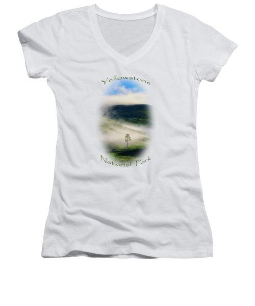 Yellowstone T-shirt Women's V-Neck T-Shirt (Junior Cut) by Greg Norrell