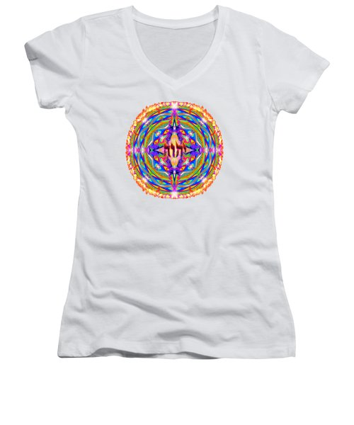 Women's V-Neck featuring the painting Yhwh Mandala 3 18 17 by Hidden Mountain