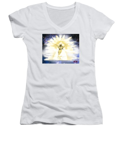 Yoda Budda Women's V-Neck (Athletic Fit)