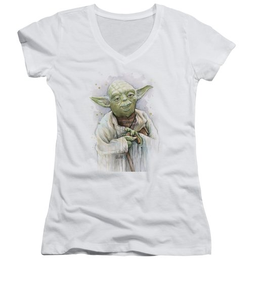 Yoda Women's V-Neck T-Shirt (Junior Cut) by Olga Shvartsur