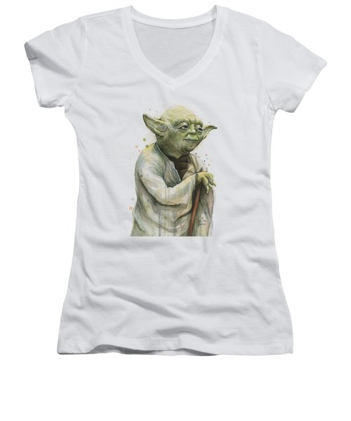 Yoda Watercolor Women's V-Neck T-Shirt (Junior Cut) by Olga Shvartsur