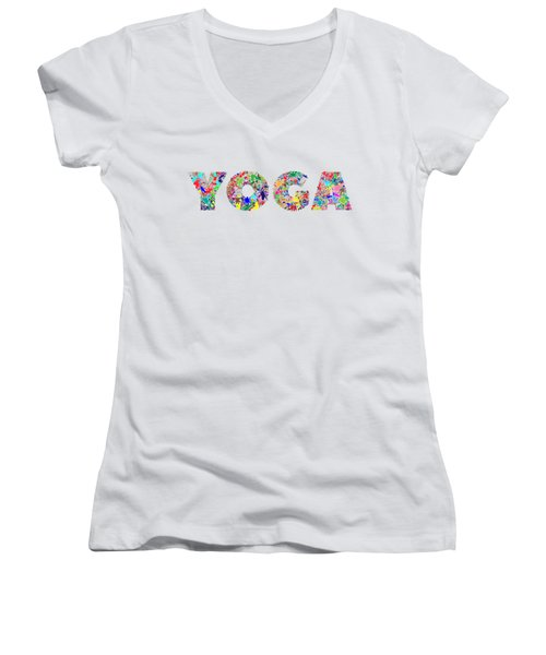 Yoga Word Art Women's V-Neck