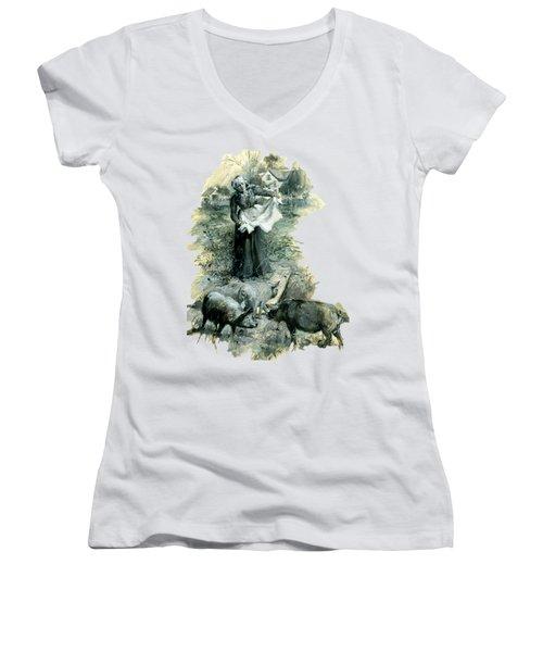 Women's V-Neck T-Shirt featuring the photograph Yohn Pigs  by Robert G Kernodle