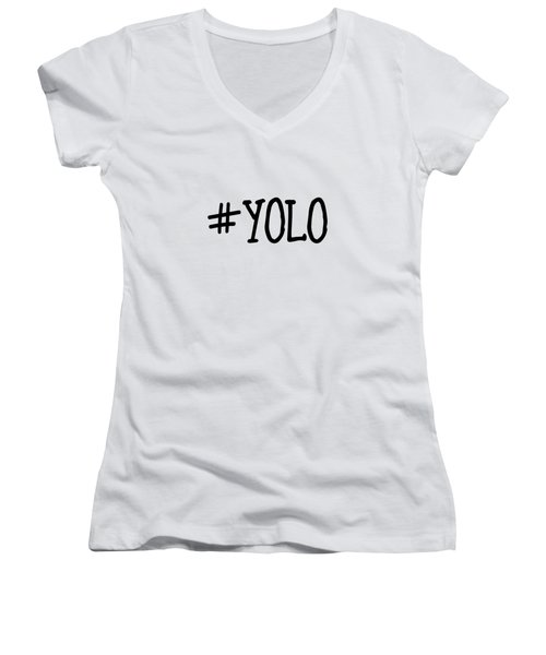 #yolo Women's V-Neck T-Shirt (Junior Cut) by Clare Bambers