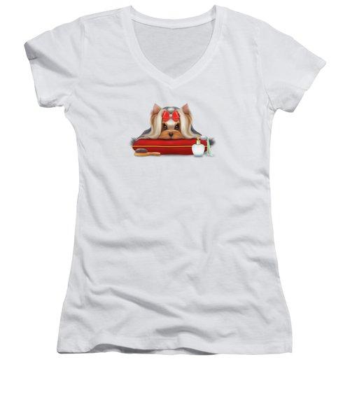 Yorkie Beauty Women's V-Neck T-Shirt (Junior Cut) by Catia Cho