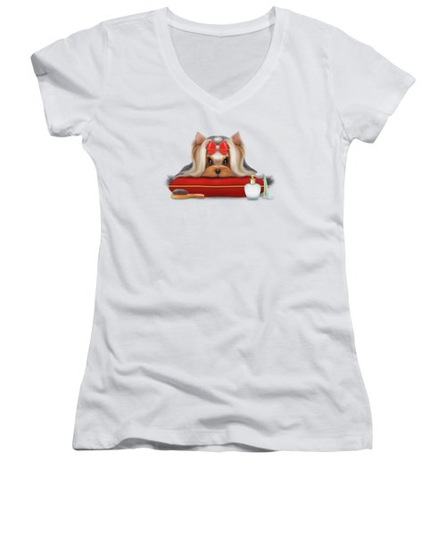 Yorkie Beauty Women's V-Neck T-Shirt