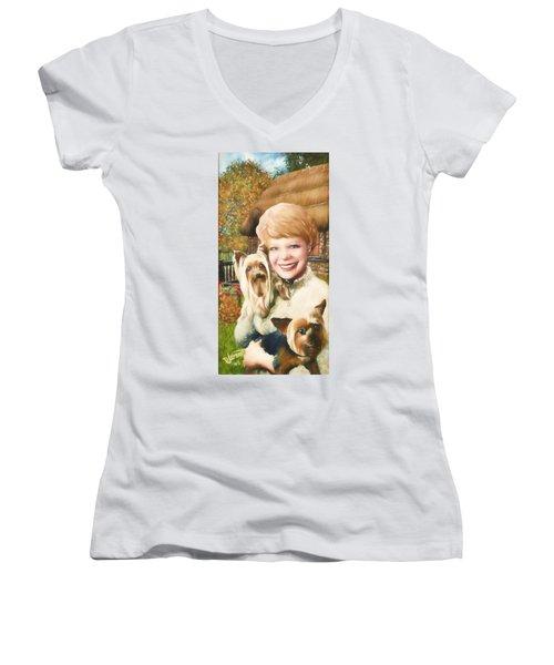 Yorkshire Lady Women's V-Neck T-Shirt (Junior Cut) by Dave Luebbert