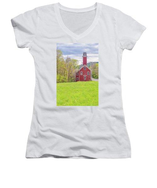 Yosemite Engine Company II Women's V-Neck T-Shirt (Junior Cut) by Tom Singleton