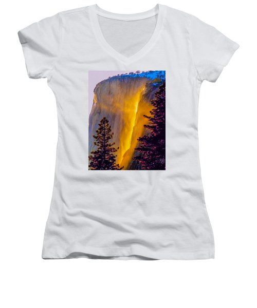 Yosemite Firefall Painting Women's V-Neck