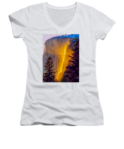 Women's V-Neck featuring the photograph Yosemite Firefall Painting by Dr Bob Johnston