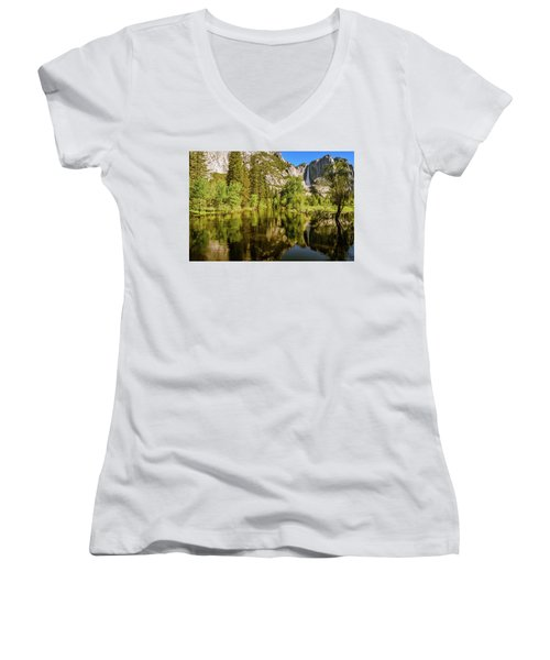 Yosemite Reflections On The Merced River Women's V-Neck
