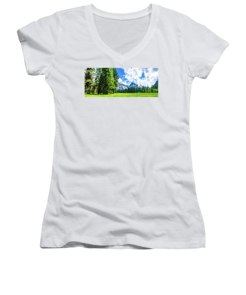 Yosemite Valley And Half Dome Digital Painting Women's V-Neck (Athletic Fit)