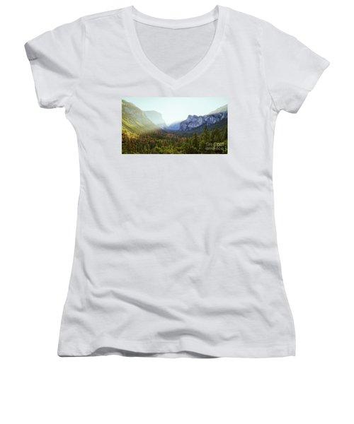 Yosemite Valley Awakening Women's V-Neck T-Shirt (Junior Cut) by JR Photography
