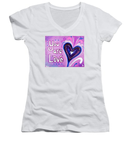 You Are Love Purple Heart Women's V-Neck (Athletic Fit)