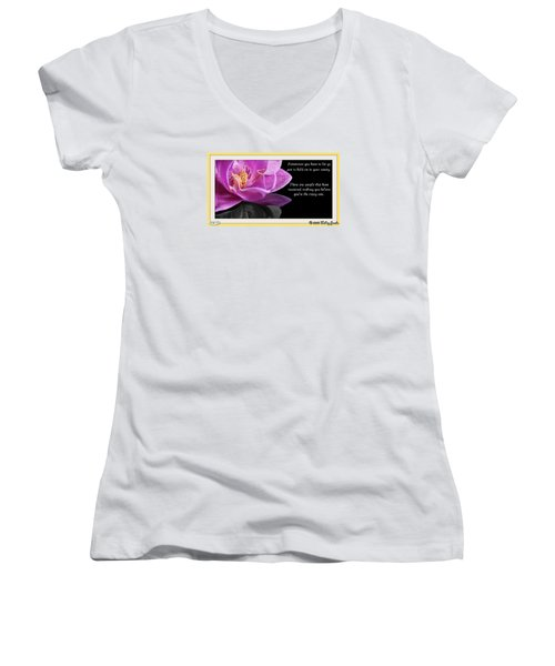 You Have To Let Go Women's V-Neck T-Shirt (Junior Cut) by Holley Jacobs