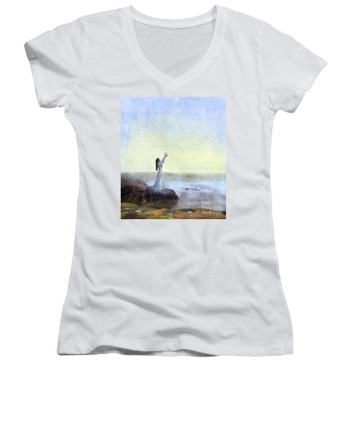 Young Lady Releasing A Dove By The Sea Women's V-Neck T-Shirt